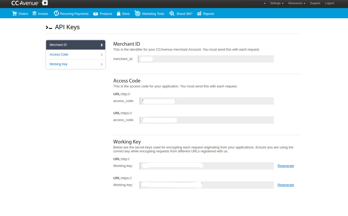 ccavanue API Key