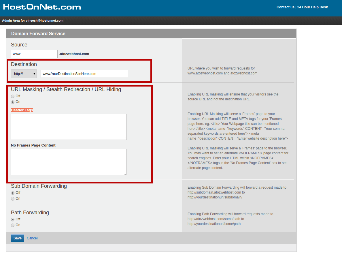 How to do a Domain Forwarding in Domain Control Panel | HostOnNet