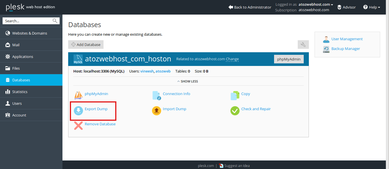 How to backup or download MySQL database from plesk control panel