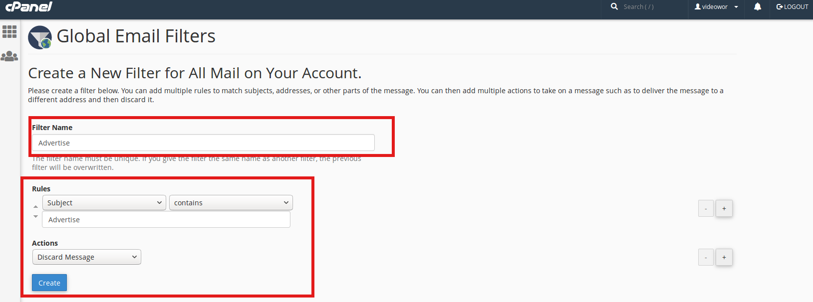 How to create a Global Email Filter in cPanel | HostOnNet com